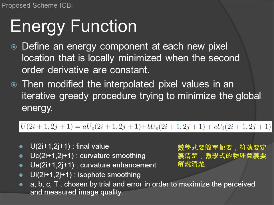 Energy Function  Define an energy component at each new pixel location that is locally minimized when the second order derivative are constant.  The