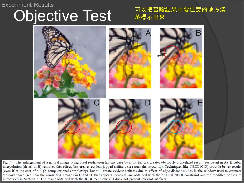 Objective Test Experiment Results 可以把實驗結果中要注意的地方清 楚標示出來