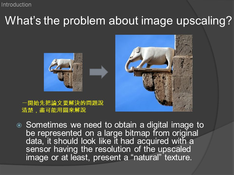 What's the problem about image upscaling?  Sometimes we need to obtain a digital image to be represented on a large bitmap from original data, it sho