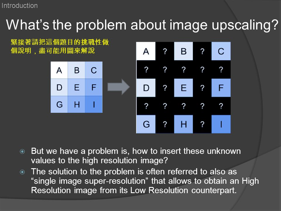 What's the problem about image upscaling?  But we have a problem is, how to insert these unknown values to the high resolution image?  The solution
