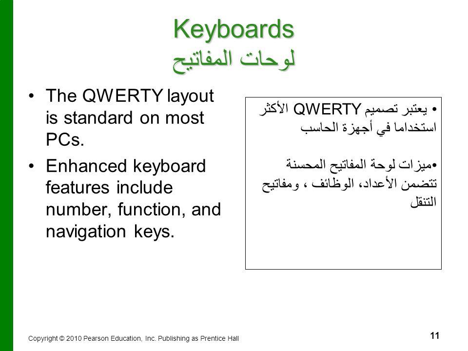 11 يعتبر تصميم QWERTY الأكثر استخداما في أجهزة الحاسب ميزات لوحة المفاتيح المحسنة تتضمن الأعداد، الوظائف ، ومفاتيح التنقل Keyboards لوحات المفاتيح The