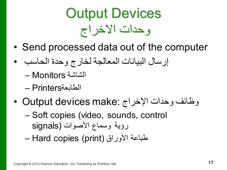 17 Output Devices وحدات الاخراج Send processed data out of the computer إرسال البيانات المعالجة لخارج وحدة الحاسب – –Monitors الشاشة – –Printersالطابع