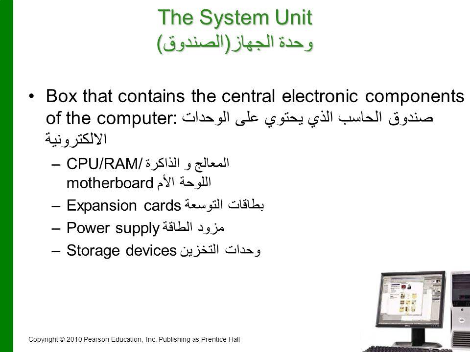 27 The System Unit وحدة الجهاز(الصندوق) Box that contains the central electronic components of the computer:صندوق الحاسب الذي يحتوي على الوحدات الالكت