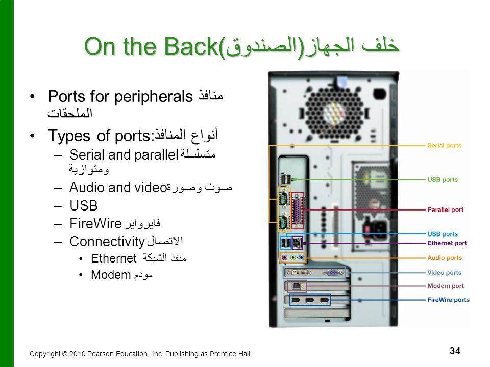 34 On the Back خلف الجهاز(الصندوق) Ports for peripheralsمنافذ الملحقات Types of ports:أنواع المنافذ – –Serial and parallelمتسلسلة ومتوازية – –Audio an