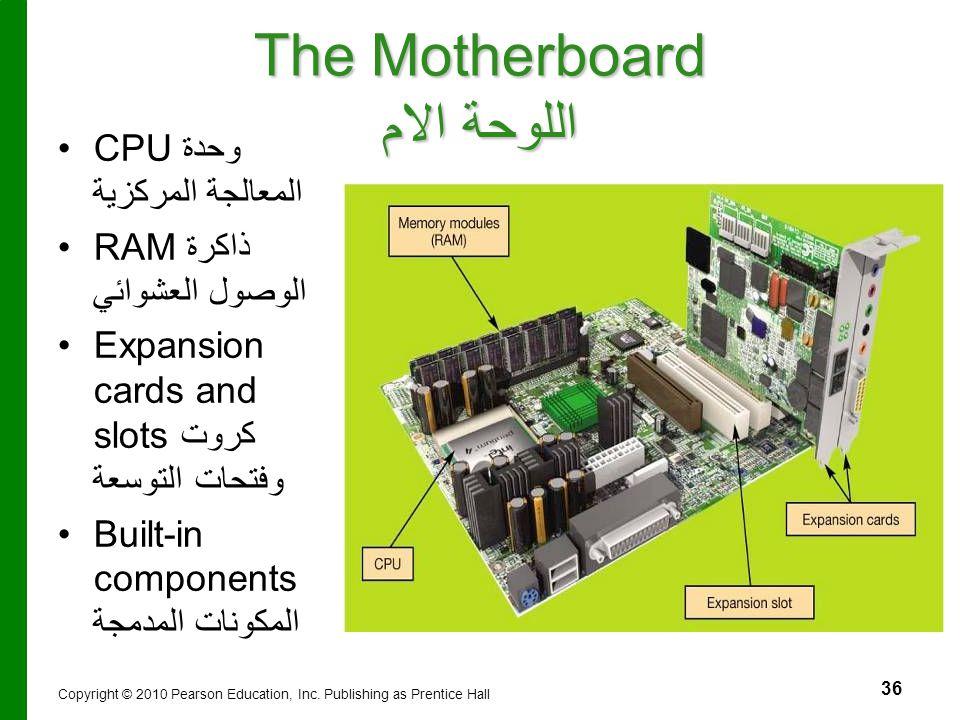 36 The Motherboard اللوحة الام CPUوحدة المعالجة المركزية RAM ذاكرة الوصول العشوائي Expansion cards and slotsكروت وفتحات التوسعة Built-in components ال
