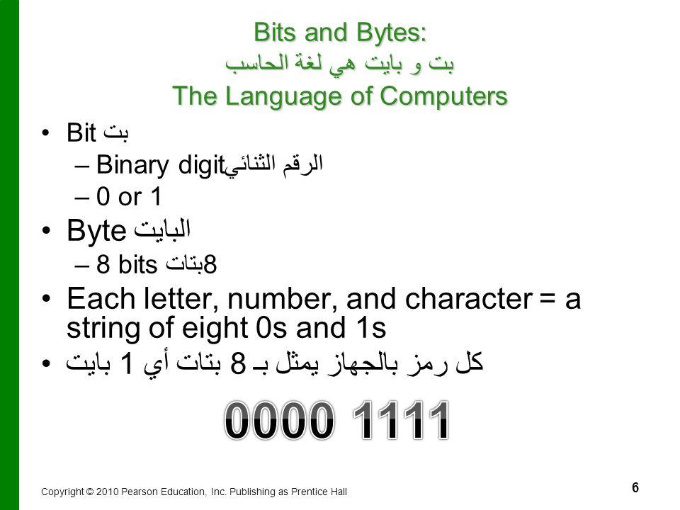 6 Bits and Bytes: بت و بايت هي لغة الحاسب The Language of Computers Bit بت – –Binary digit الرقم الثنائي – –0 or 1 Byte البايت – –8 bits 8بتات Each le
