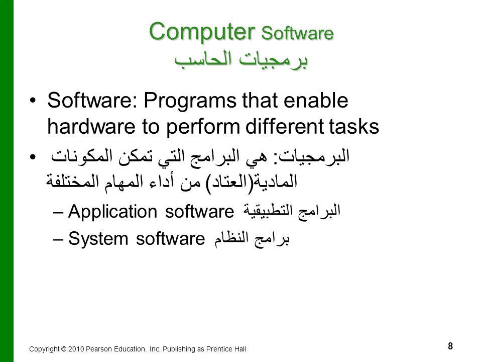 8 Computer Software برمجيات الحاسب Software: Programs that enable hardware to perform different tasks البرمجيات: هي البرامج التي تمكن المكونات المادية