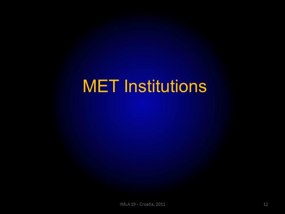 IMLA 19 - Croatia, 201112 MET Institutions