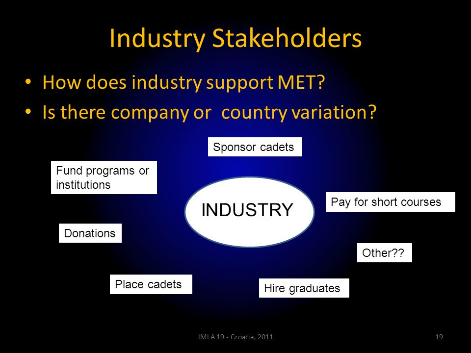 Industry Stakeholders How does industry support MET? Is there company or country variation? IMLA 19 - Croatia, 201119 Sponsor cadets Fund programs or
