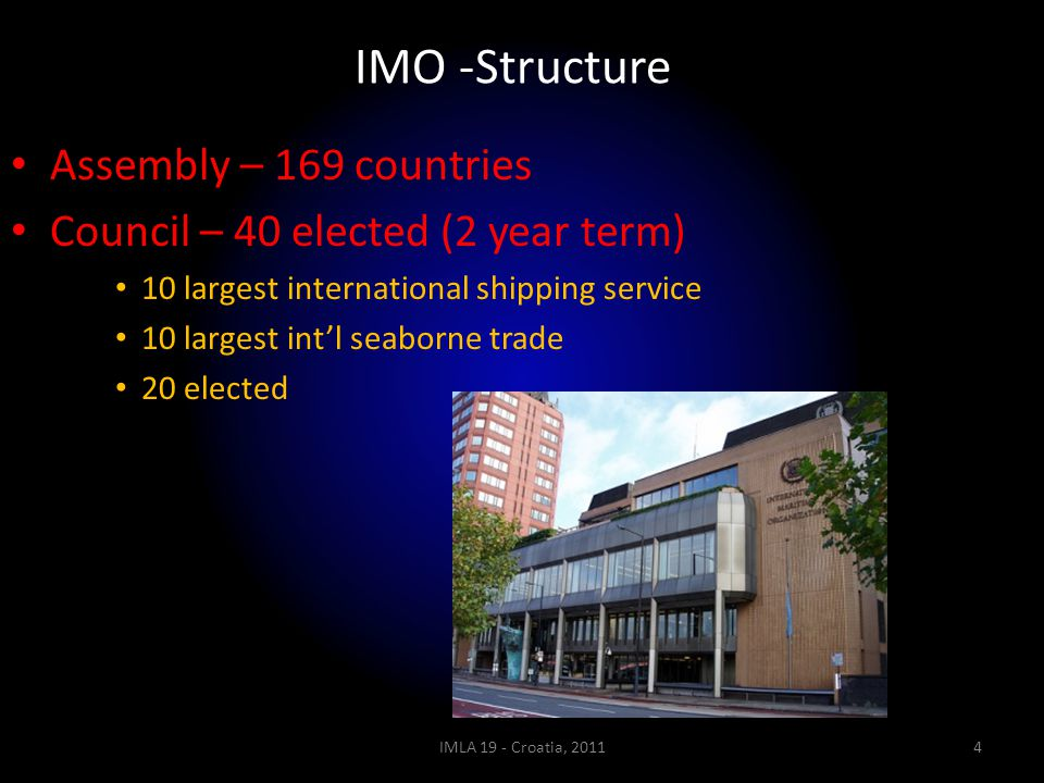 IMO -Structure Assembly – 169 countries Council – 40 elected (2 year term) 10 largest international shipping service 10 largest int'l seaborne trade 2