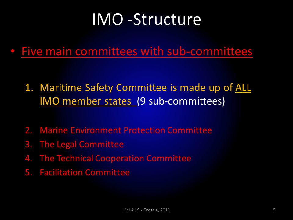 IMO -Structure Five main committees with sub-committees 1.Maritime Safety Committee is made up of ALL IMO member states (9 sub-committees) 2.Marine En