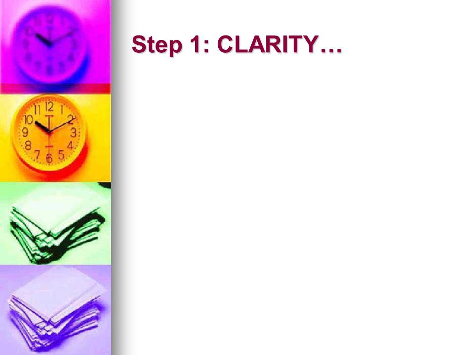 Step 1: CLARITY…