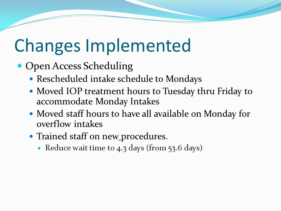 Changes Implemented Open Access Scheduling Rescheduled intake schedule to Mondays Moved IOP treatment hours to Tuesday thru Friday to accommodate Mond