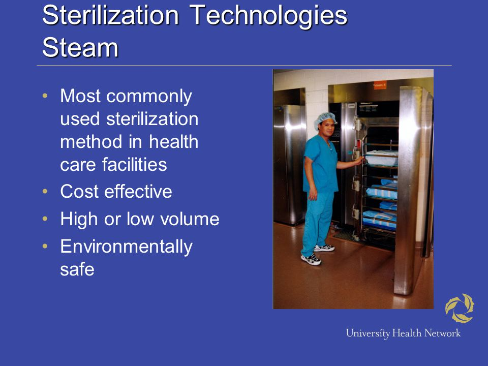 Sterilization Technologies Steam PreVacuum Sterilization conditions created by creating chamber vacuum to displace air within chamber and instrumentation Short exposure time High temperature Drying phase