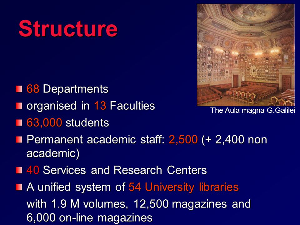 Structure 68 Departments organised in 13 Faculties 63,000 students Permanent academic staff: 2,500 (+ 2,400 non academic) 40 Services and Research Centers A unified system of 54 University libraries with 1.9 M volumes, 12,500 magazines and 6,000 on-line magazines The Aula magna G.Galilei