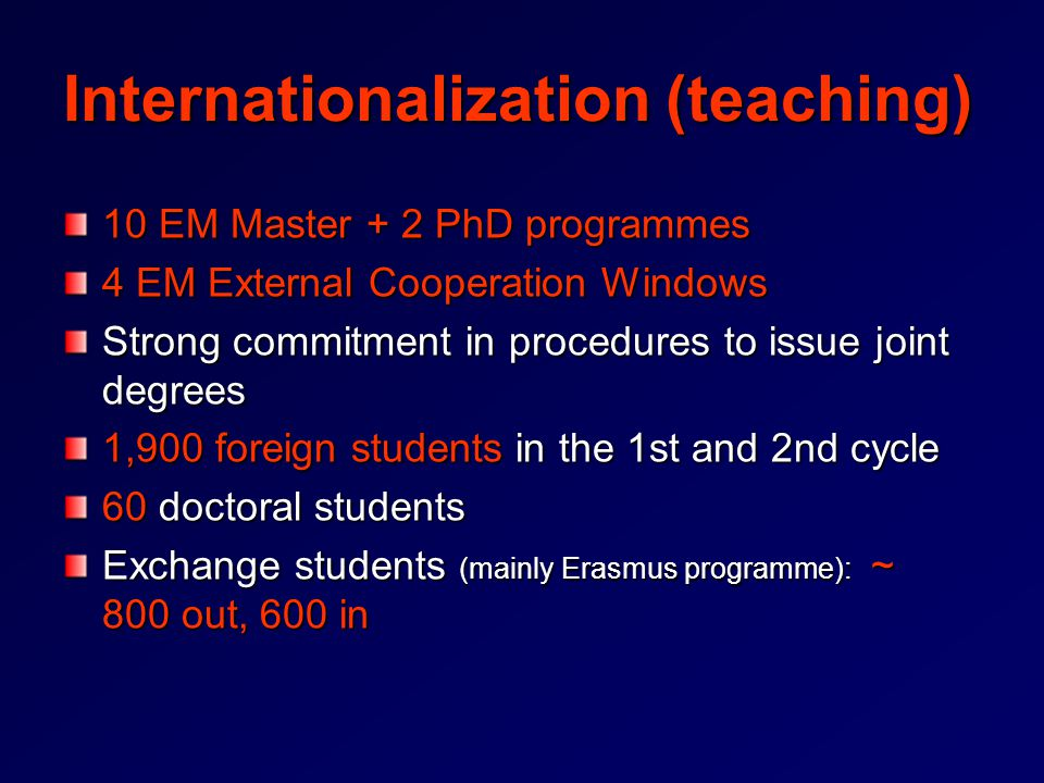 Internationalization (teaching) 10 EM Master + 2 PhD programmes 4 EM External Cooperation Windows Strong commitment in procedures to issue joint degrees 1,900 foreign students in the 1st and 2nd cycle 60 doctoral students Exchange students (mainly Erasmus programme): ~ 800 out, 600 in