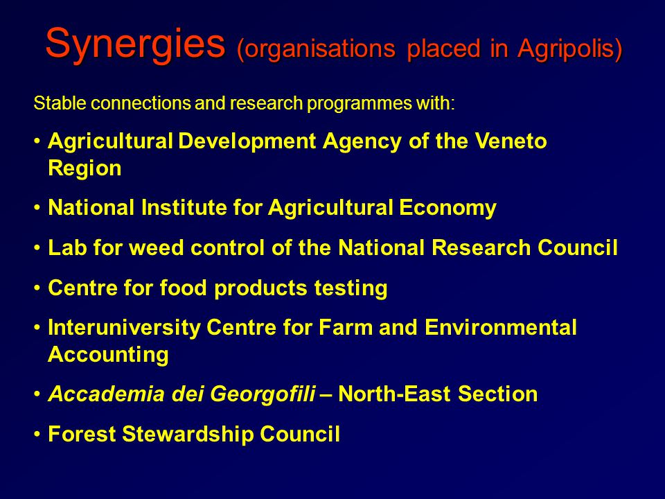 Synergies (organisations placed in Agripolis) Stable connections and research programmes with: Agricultural Development Agency of the Veneto Region National Institute for Agricultural Economy Lab for weed control of the National Research Council Centre for food products testing Interuniversity Centre for Farm and Environmental Accounting Accademia dei Georgofili – North-East Section Forest Stewardship Council