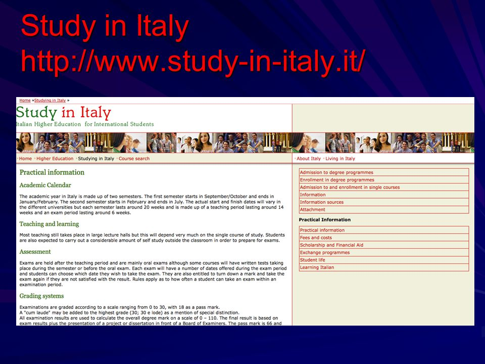 Study in Italy http://www.study-in-italy.it/