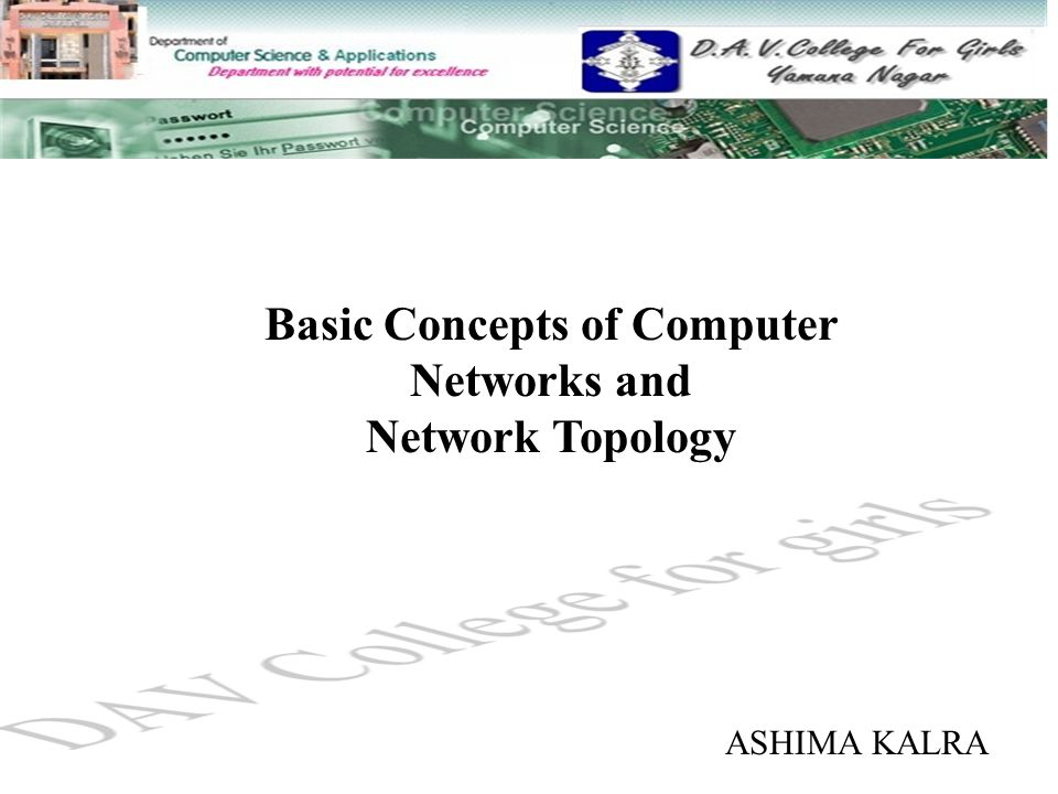 Basic Concepts of Computer Networks and Network Topology ASHIMA KALRA