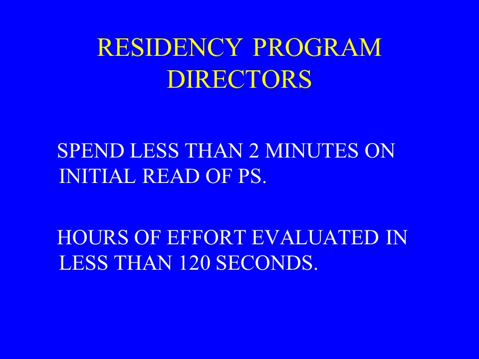 RESIDENCY PROGRAM DIRECTORS SPEND LESS THAN 2 MINUTES ON INITIAL READ OF PS.