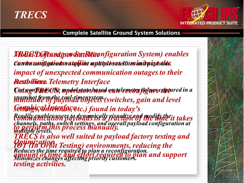 TRECS TRECS (Transponder Reconfiguration System) enables communication satellite operators to minimize the impact of unexpected communication outages