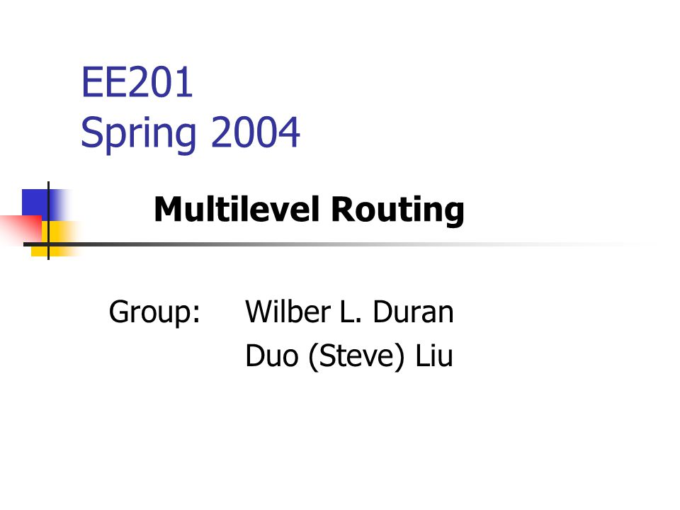 EE201 Spring 2004 Group: Wilber L. Duran Duo (Steve) Liu Multilevel Routing