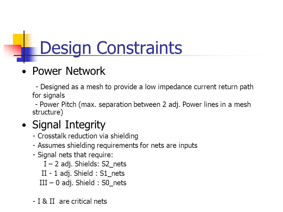 Design Constraints Power Network - Designed as a mesh to provide a low impedance current return path for signals - Power Pitch (max.