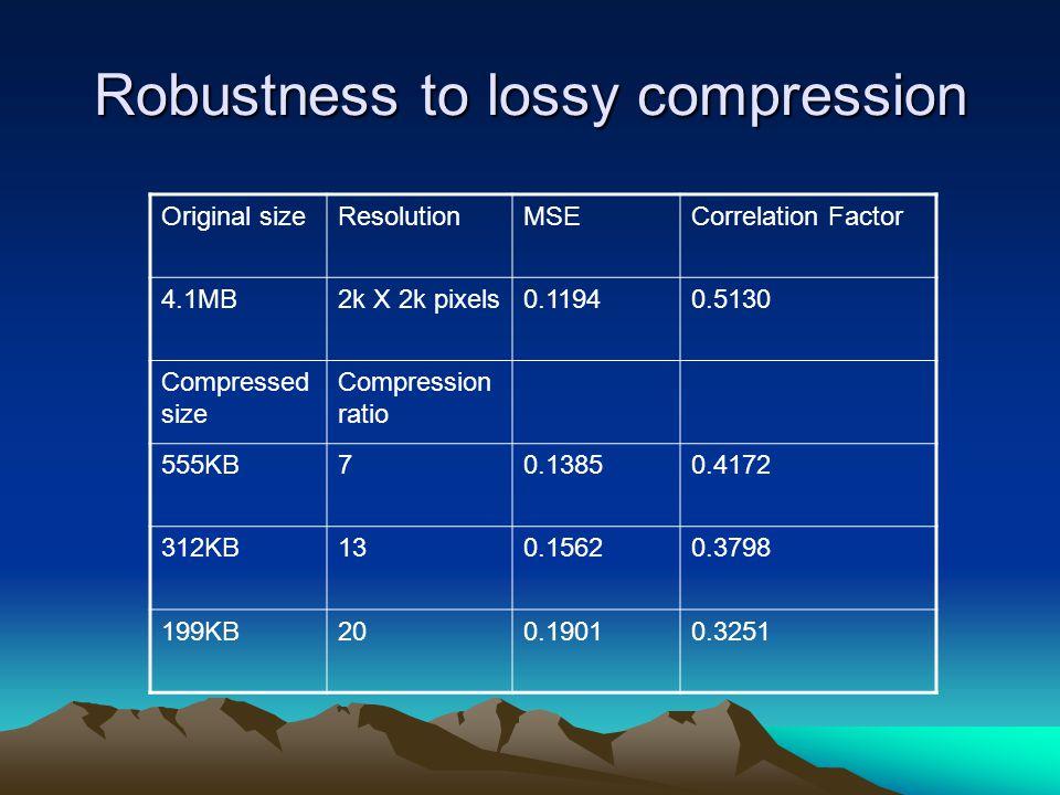 Robustness to lossy compression Original sizeResolutionMSECorrelation Factor 4.1MB2k X 2k pixels0.11940.5130 Compressed size Compression ratio 555KB70