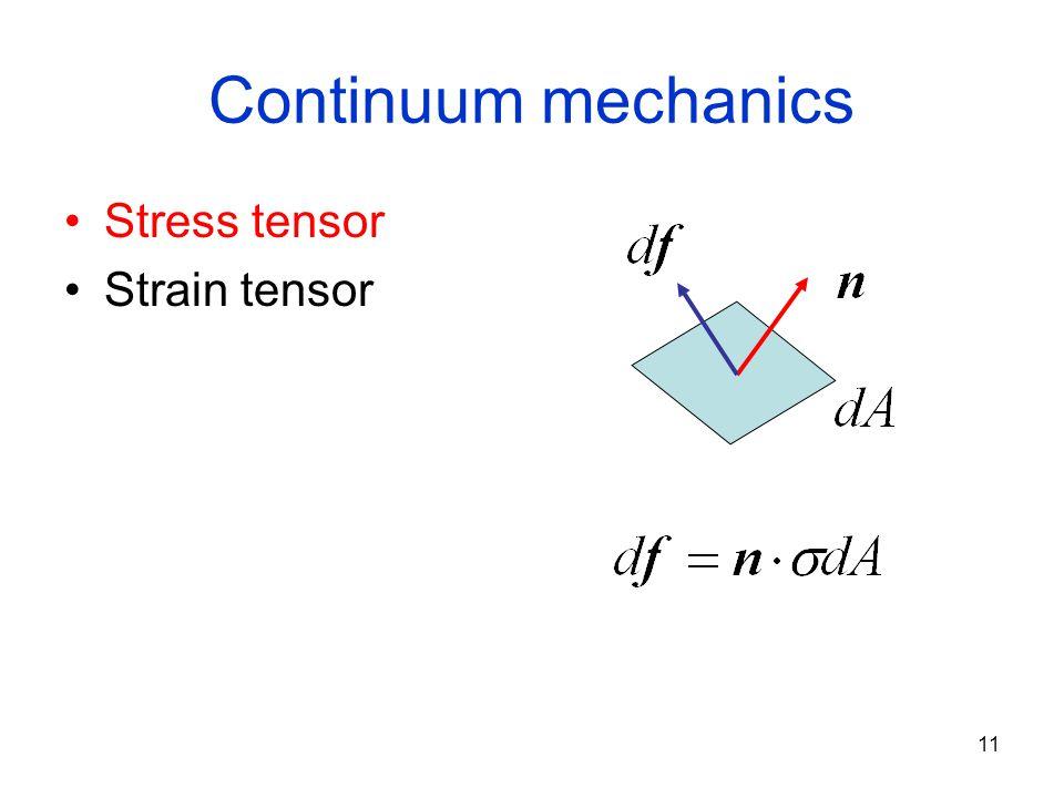 11 Continuum mechanics Stress tensor Strain tensor