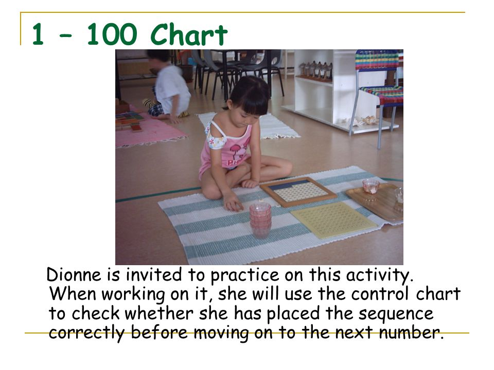 1 – 100 Chart Dionne is invited to practice on this activity. When working on it, she will use the control chart to check whether she has placed the s