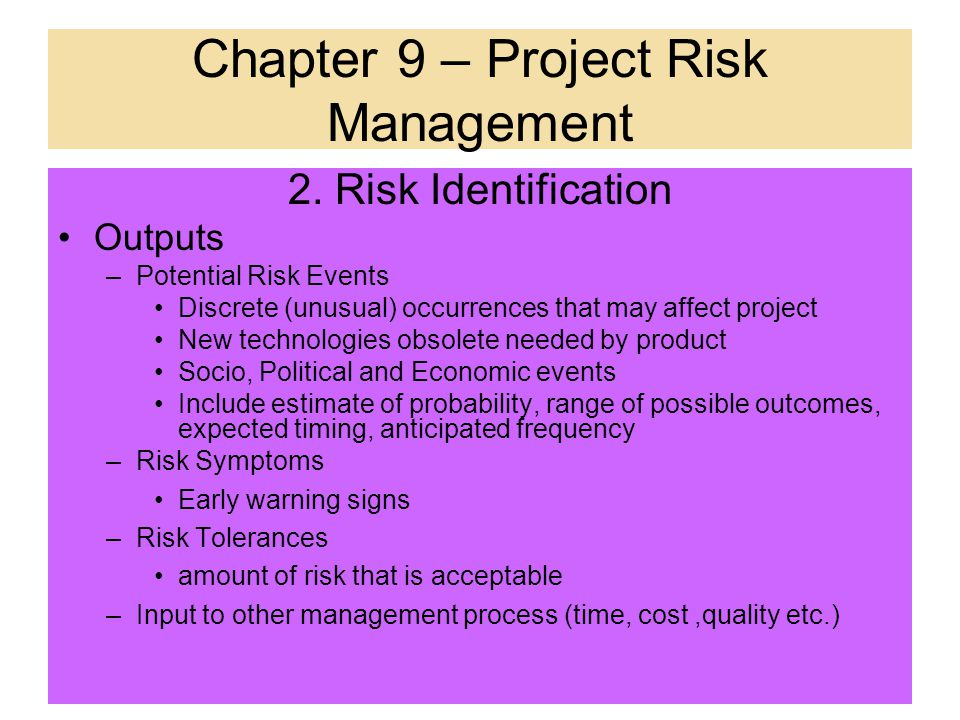 The Whole Risks of a Project Classified by serious of results Classified by causes of risks Classified by risks conjunction Classified by Unfore- seei