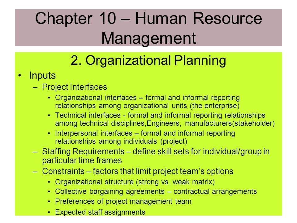 Chapter 10 – Human Resource Management 2. Organizational Planning –Identifying, documenting and assigning project roles, responsibilities, and reporti