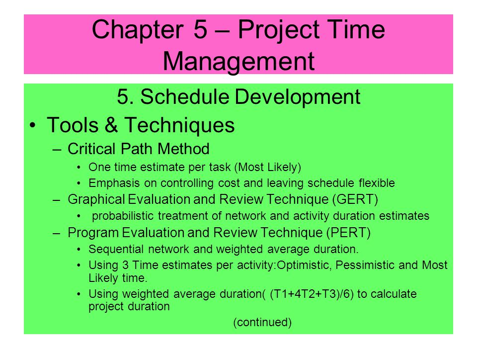 5. Schedule Development Inputs: –Project Network Diagram –Activity Duration Estimates –Resource Requirements –Resource Pool Description –Calendars Pro
