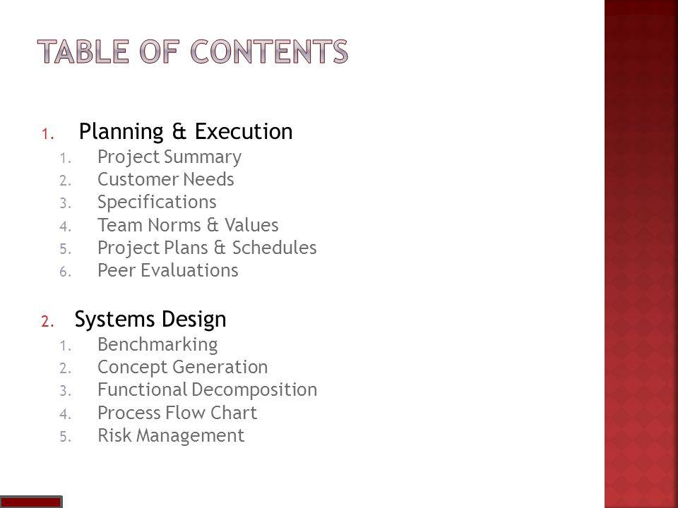 1.Project Summary 2. Customer Needs 3. Specifications 4.