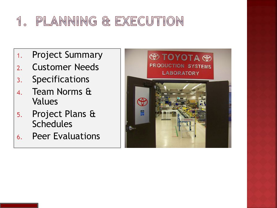 1. Project Summary 2. Customer Needs 3. Specifications 4. Team Norms & Values 5. Project Plans & Schedules 6. Peer Evaluations