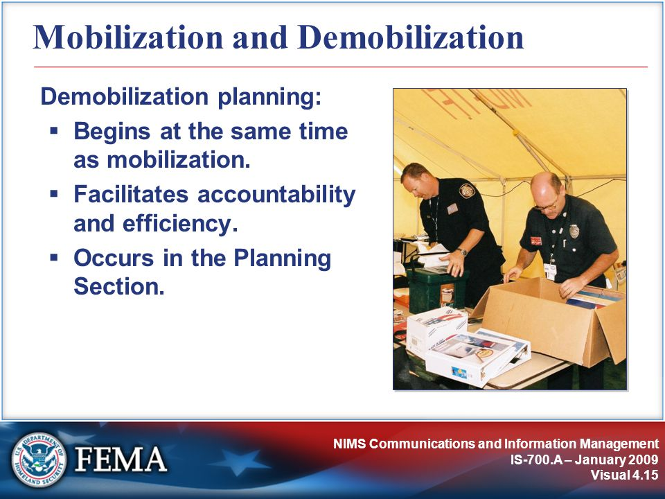 NIMS Communications and Information Management IS-700.A – January 2009 Visual 4.15 Mobilization and Demobilization Demobilization planning:  Begins a