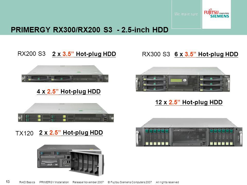 RAID Basics PRIMERGY Installation Release November 2007 © Fujitsu Siemens Computers 2007 All rights reserved 13 PRIMERGY RX300/RX200 S3 - 2.5-inch HDD 6 x 3.5 Hot-plug HDD 12 x 2.5 Hot-plug HDD 2 x 3.5 Hot-plug HDD 4 x 2.5 Hot-plug HDD RX200 S3 RX300 S3 2 x 2.5 Hot-plug HDD TX120