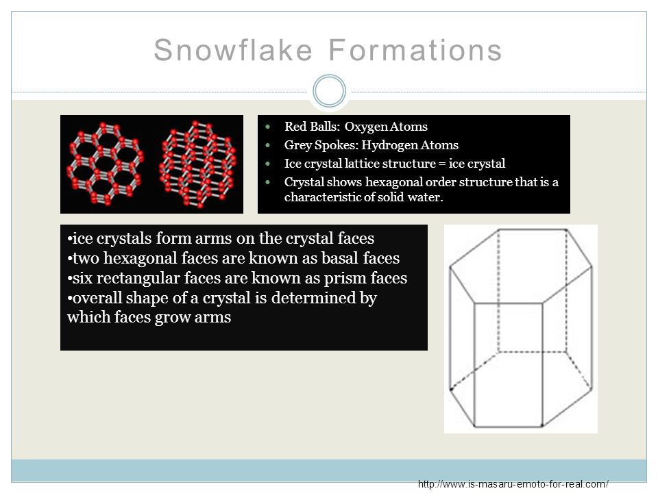 Snowflake Formations Red Balls: Oxygen Atoms Grey Spokes: Hydrogen Atoms Ice crystal lattice structure = ice crystal Crystal shows hexagonal order structure that is a characteristic of solid water.