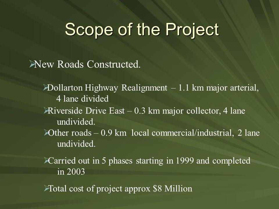 Scope of the Project  New Roads Constructed.