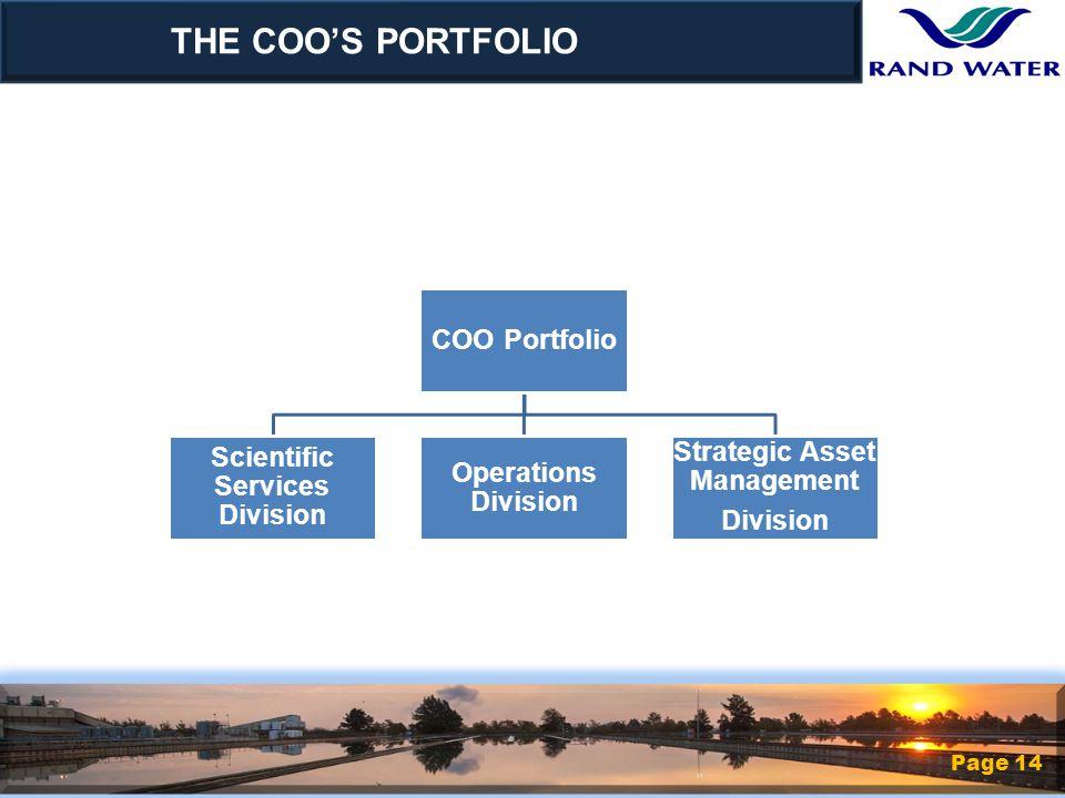 COO Portfolio Scientific Services Division Operations Division Strategic Asset Management Division THE COO'S PORTFOLIO Page 14