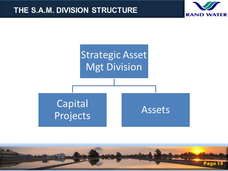 Strategic Asset Mgt Division Capital Projects Assets THE S.A.M. DIVISION STRUCTURE Page 15