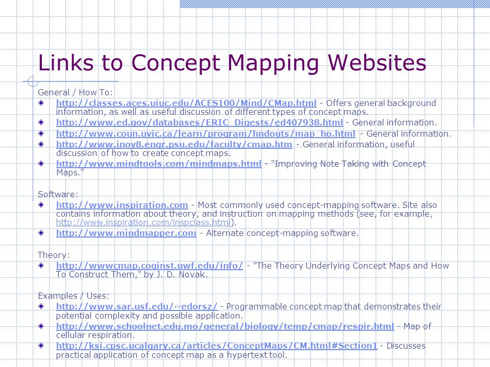 Links to Concept Mapping Websites General / How To: http://classes.aces.uiuc.edu/ACES100/Mind/CMap.htmlhttp://classes.aces.uiuc.edu/ACES100/Mind/CMap.html - Offers general background information, as well as useful discussion of different types of concept maps.