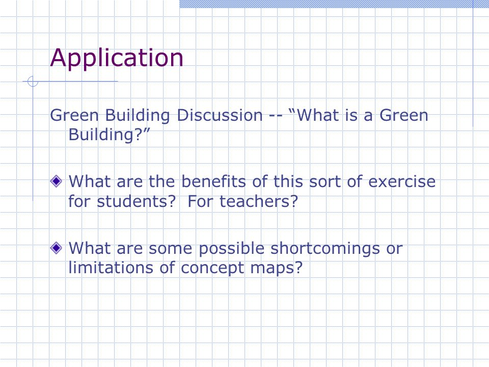 Application Green Building Discussion -- What is a Green Building? What are the benefits of this sort of exercise for students.