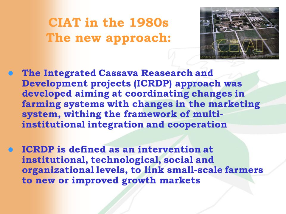 CIAT in the 1980s The new approach: l The Integrated Cassava Reasearch and Development projects (ICRDP) approach was developed aiming at coordinating changes in farming systems with changes in the marketing system, withing the framework of multi- institutional integration and cooperation l ICRDP is defined as an intervention at institutional, technological, social and organizational levels, to link small-scale farmers to new or improved growth markets