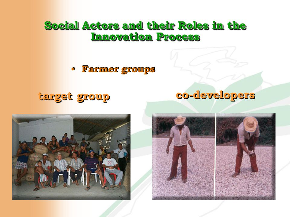 Social Actors and their Roles in the Innovation Process Farmer groups co-developers target group