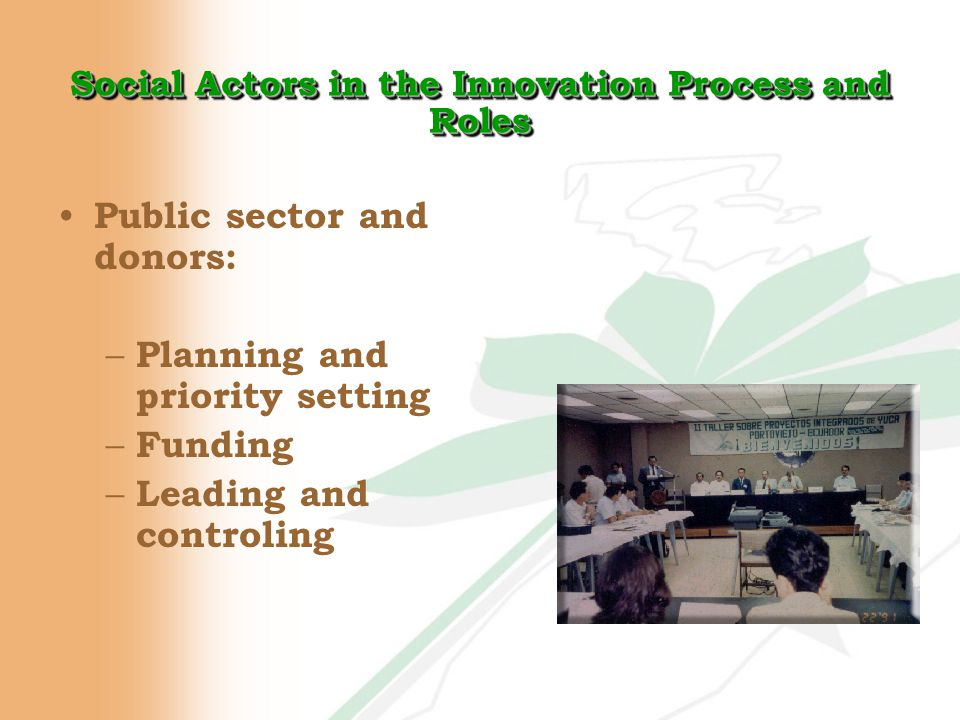 Social Actors in the Innovation Process and Roles Public sector and donors: – Planning and priority setting – Funding – Leading and controling
