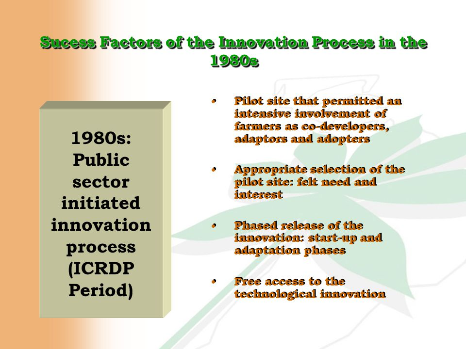 Sucess Factors of the Innovation Process in the 1980s Pilot site that permitted an intensive involvement of farmers as co-developers, adaptors and adopters Appropriate selection of the pilot site: felt need and interest Phased release of the innovation: start-up and adaptation phases Free access to the technological innovation Pilot site that permitted an intensive involvement of farmers as co-developers, adaptors and adopters Appropriate selection of the pilot site: felt need and interest Phased release of the innovation: start-up and adaptation phases Free access to the technological innovation 1980s: Public sector initiated innovation process (ICRDP Period)