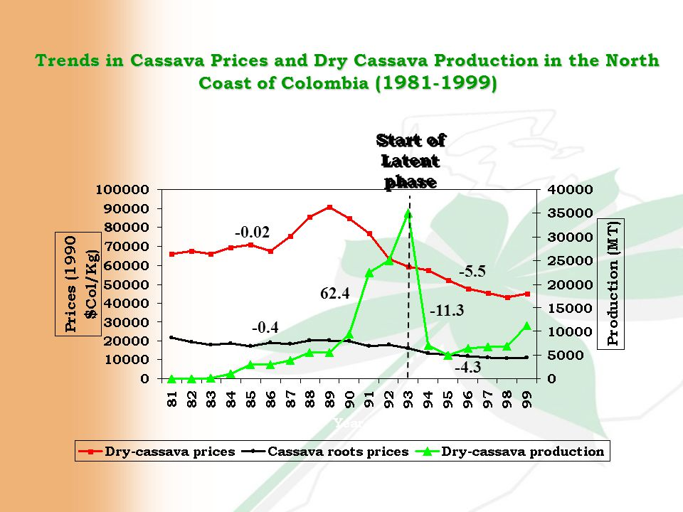 Trends in Cassava Prices and Dry Cassava Production in the North Coast of Colombia (1981-1999) -0.4 -4.3 -0.02 -5.5 Start of Latent phase 62.4 -11.3