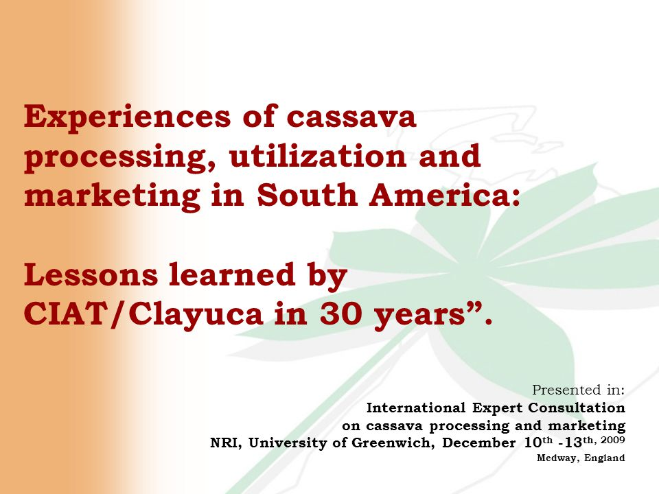 Experiences of cassava processing, utilization and marketing in South America: Lessons learned by CIAT/Clayuca in 30 years .