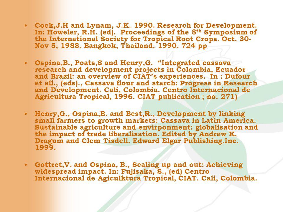 Use of Cassava in Animal Feeding 20.0 20 % cassava flour 3.6 10.0 11.8 20.0 23.0 --------Cassava flour Commercial 9.1Wheat brand 10.0Rice flour 8.1Soybean cake 20.0Full fat soybean 41.10Maize Ingredient